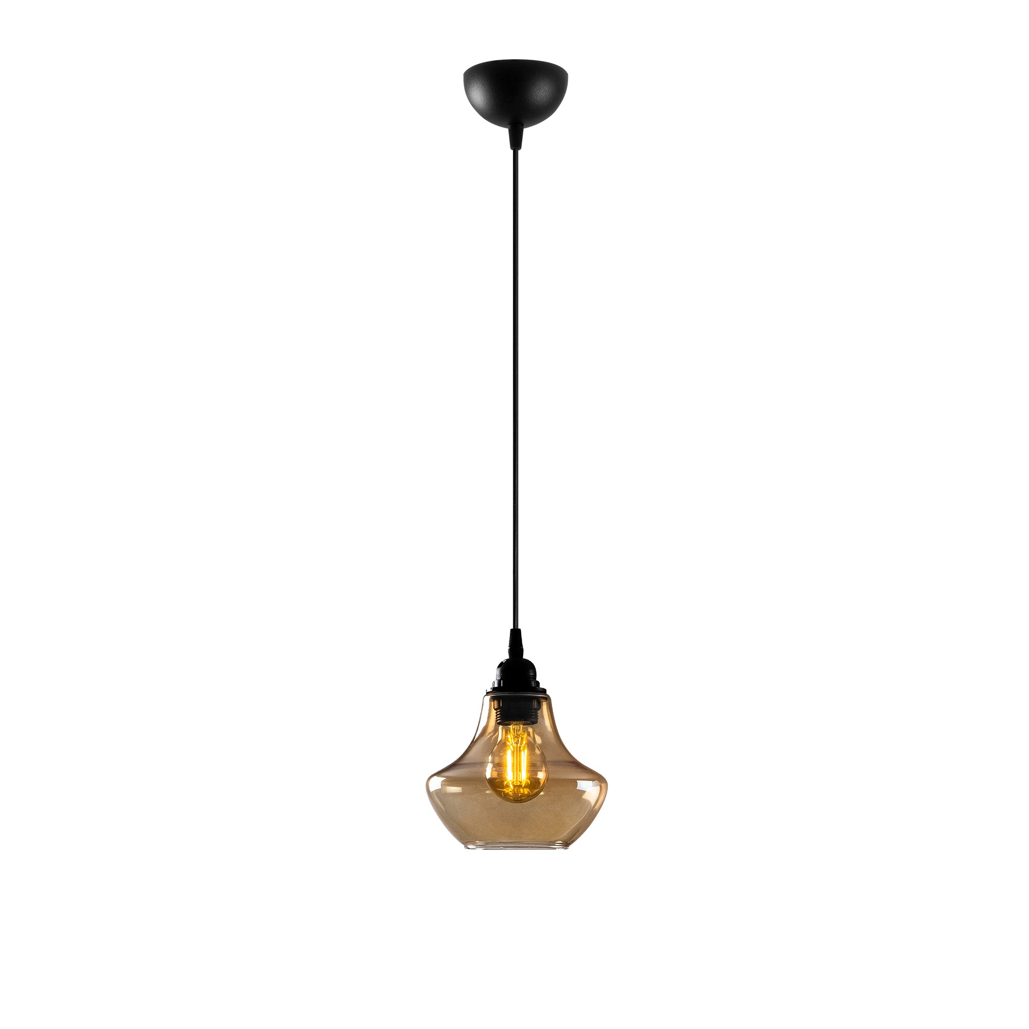 gouden hanglamp e27 fitting-Moroni - vooraanzicht lamp aan