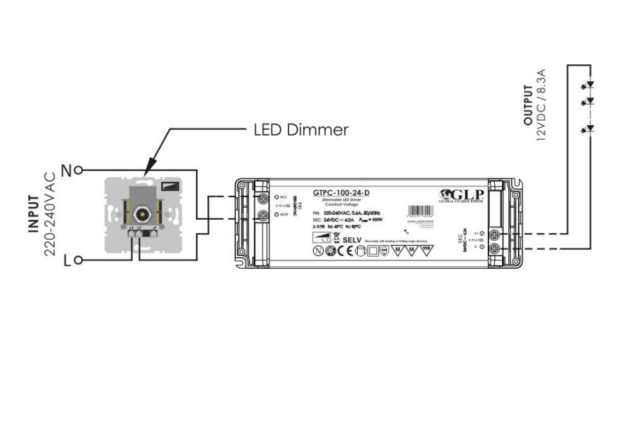 Dimbare LED Transformator 100 watt - 12 volt - aansluitschema