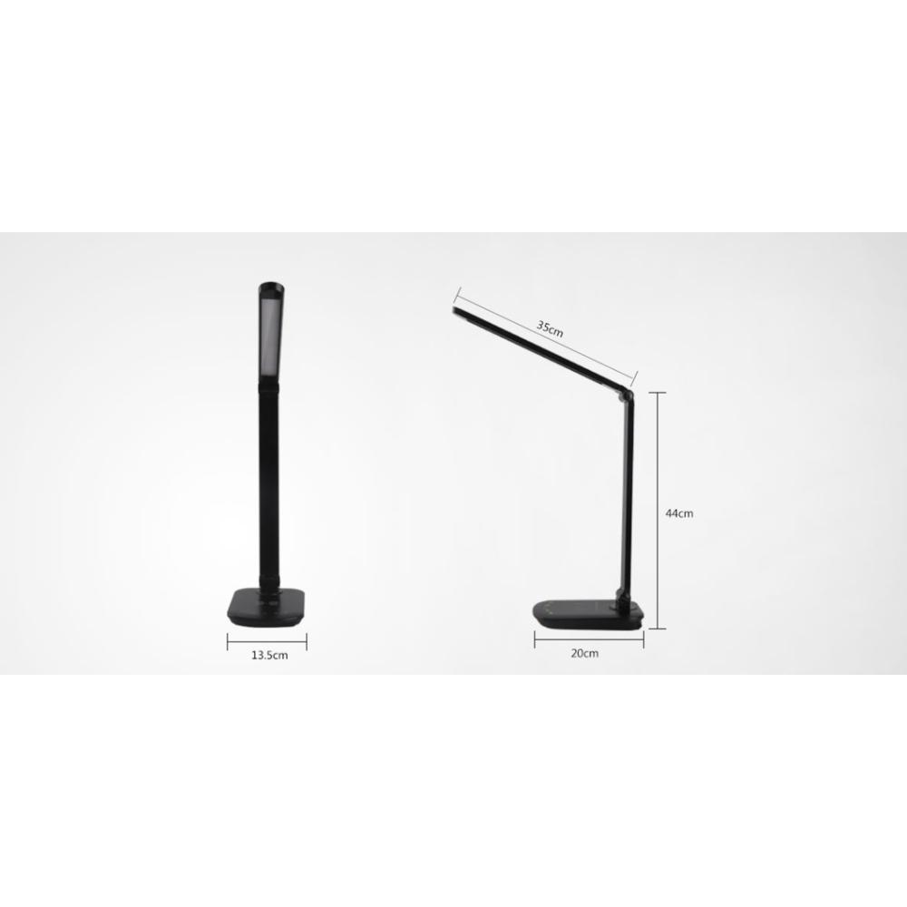 Afmetingen LED Bureaulamp zwart met draadloze oplader