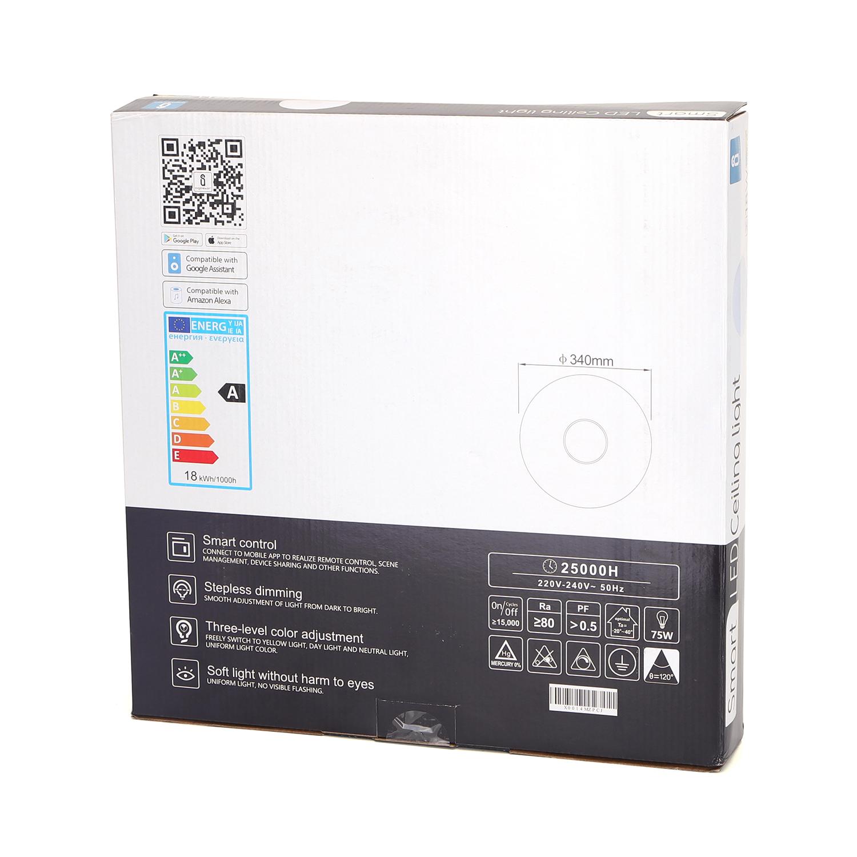 Aigostar dimbare plafondlamp 340mm - RGB+CCT - LED - rond - opbouw - verpakking