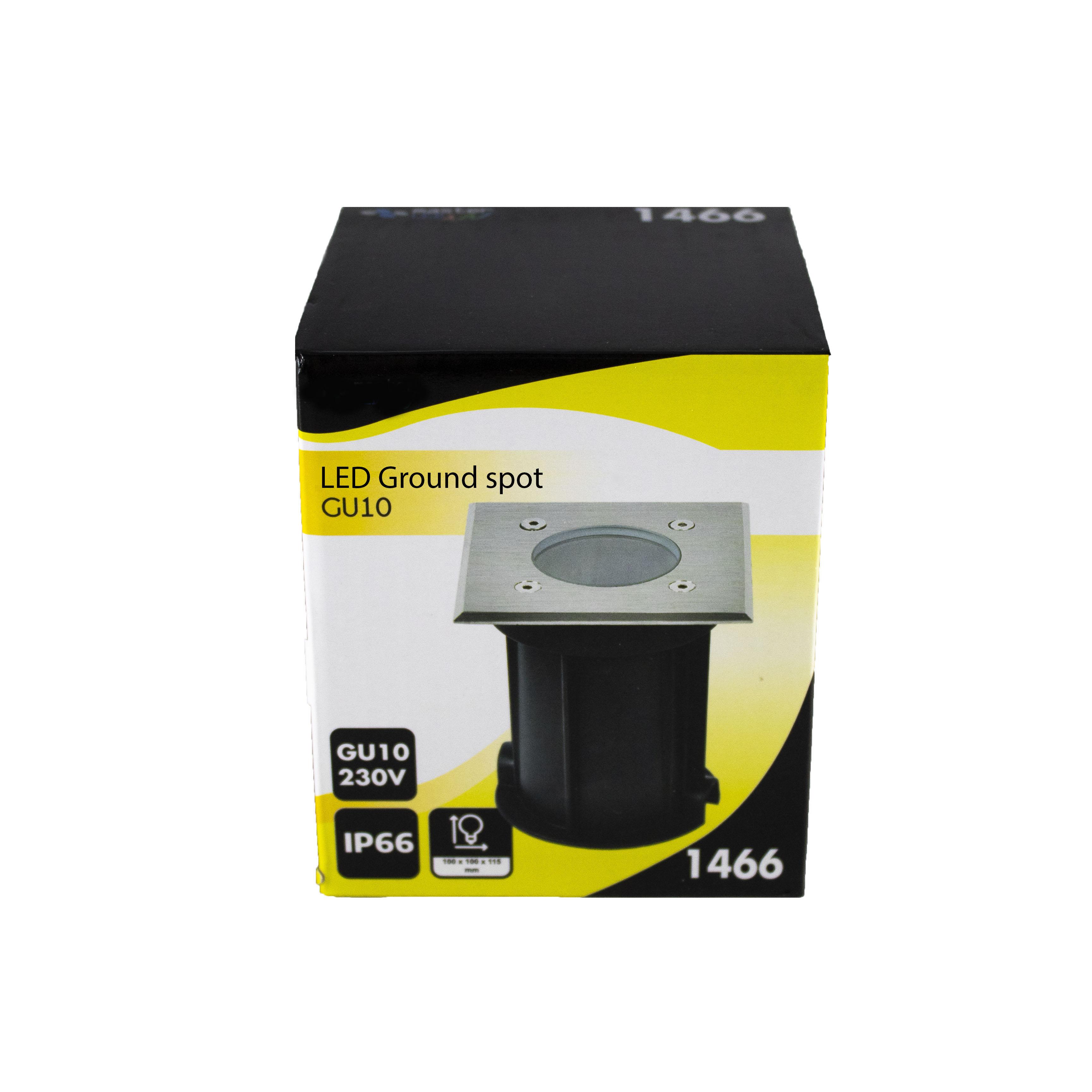 Led grondspot vierkant IP67 1 keer GU10 fitting - verpakking spot