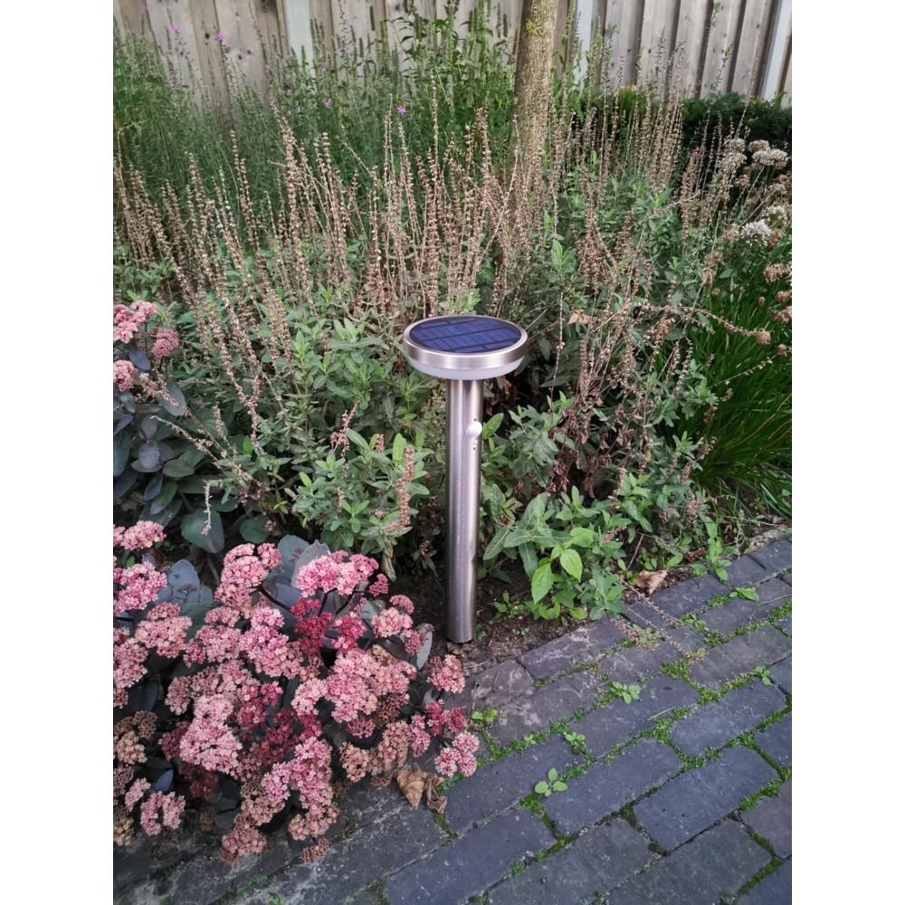 Sfeerfoto tuin sokkel solar - RVS - rond - 4,4W - 3000K - met spies