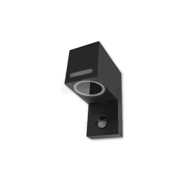 LED Wandlamp vierkant met gu10 fitting zwart met sensor - onderkant