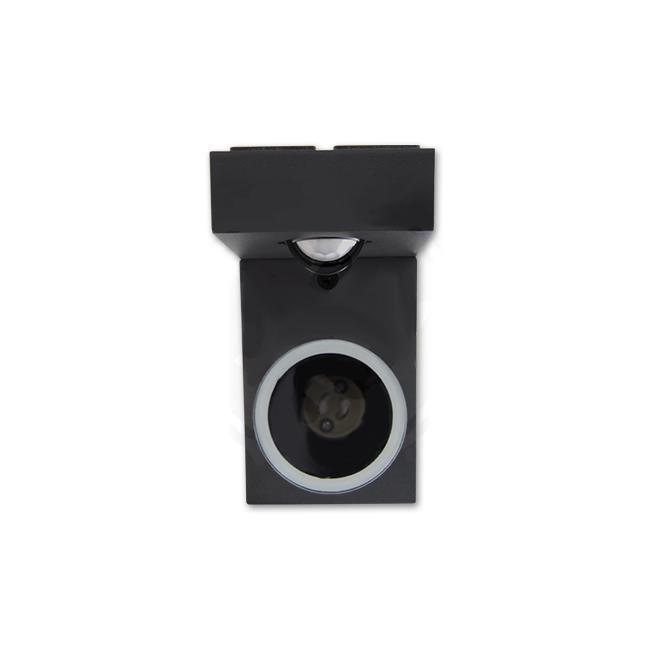 LED Wandlamp vierkant met gu10 fitting zwart met sensor - onderaanzicht