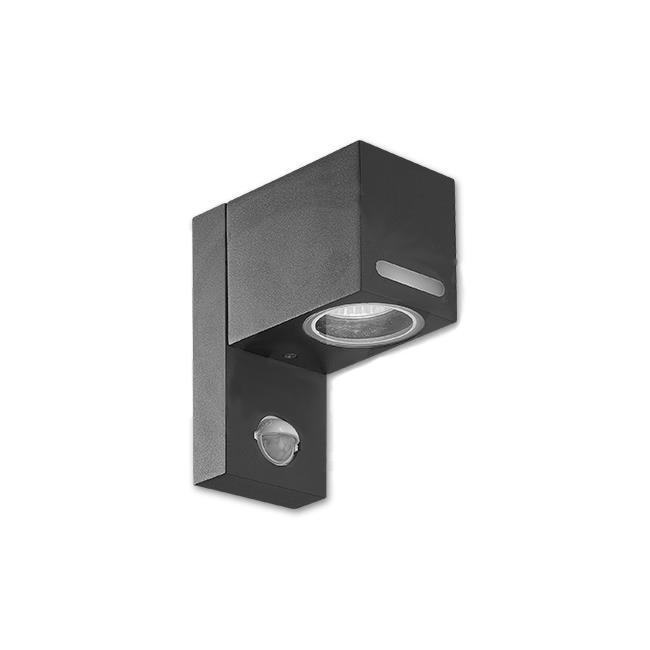 LED Wandlamp vierkant met gu10 fitting zwart met sensor