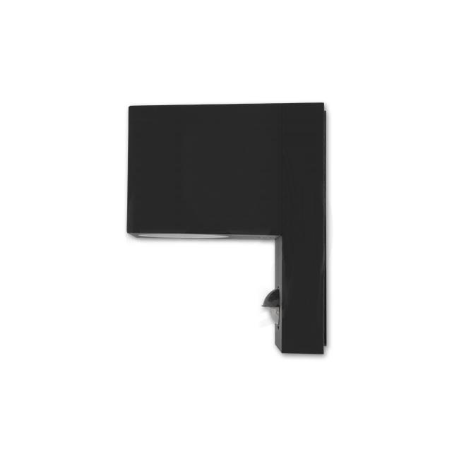 LED Wandlamp vierkant met gu10 fitting zwart met sensor - zijkant
