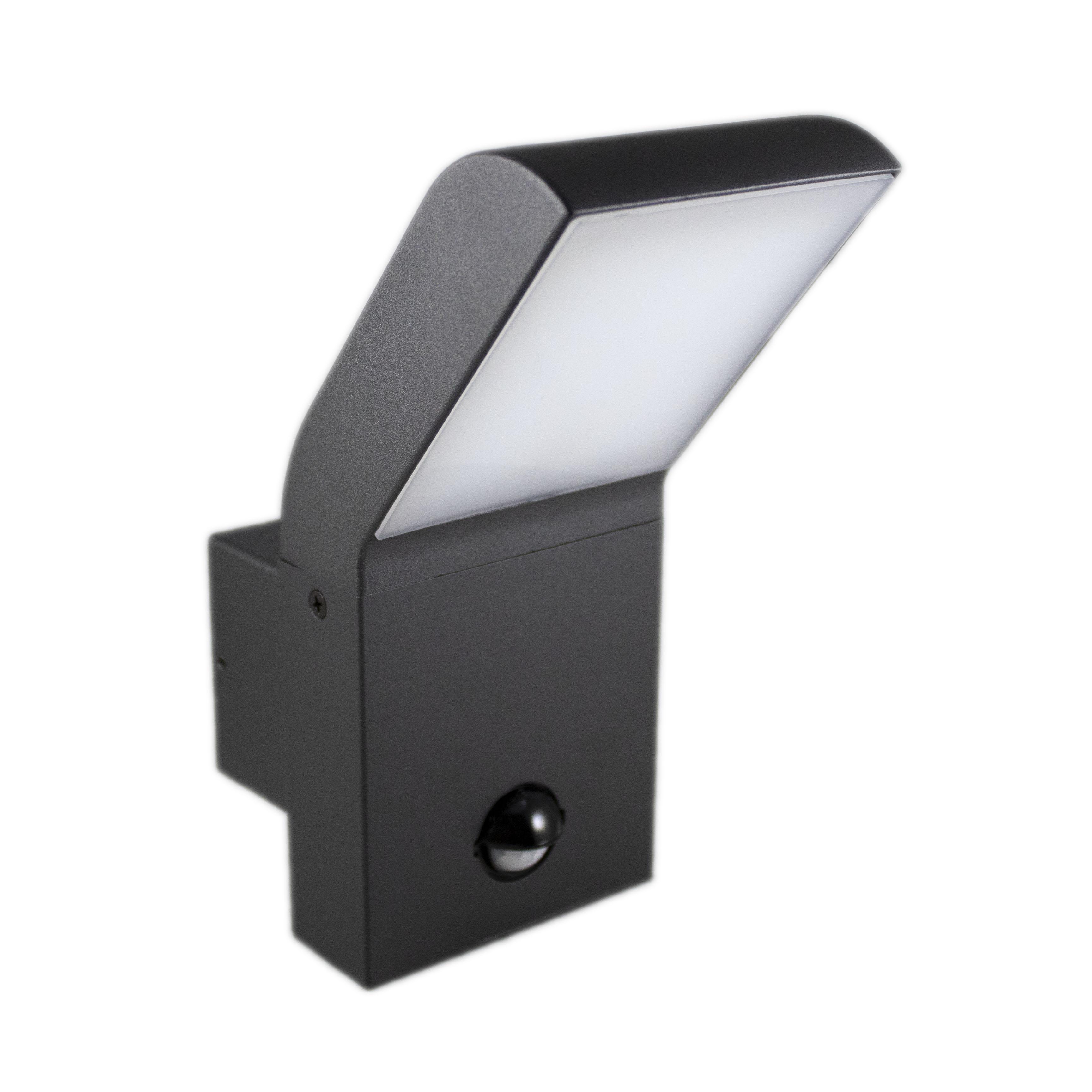 Wandlamp buiten met sensor 12 watt 4000K - naturel wit - zijkant aanzicht