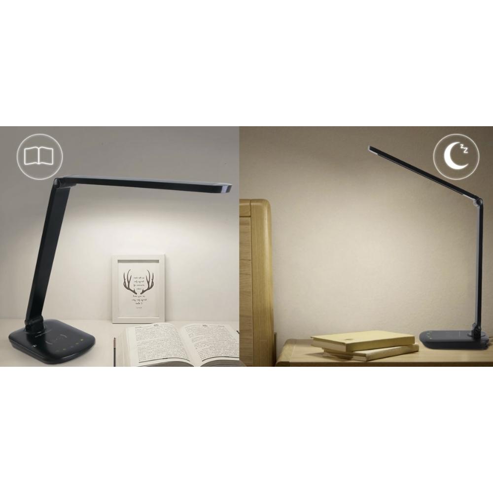 Bureaulamp - taffellamp LED 8W zwart met lees en nachtstand.