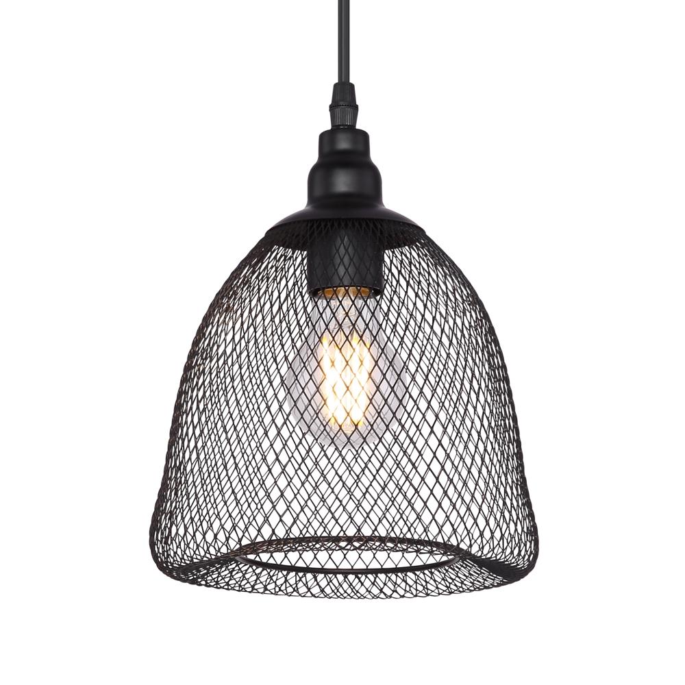 LED moderne hanglamp metaal mesh - zwart - open kap - lampenkap