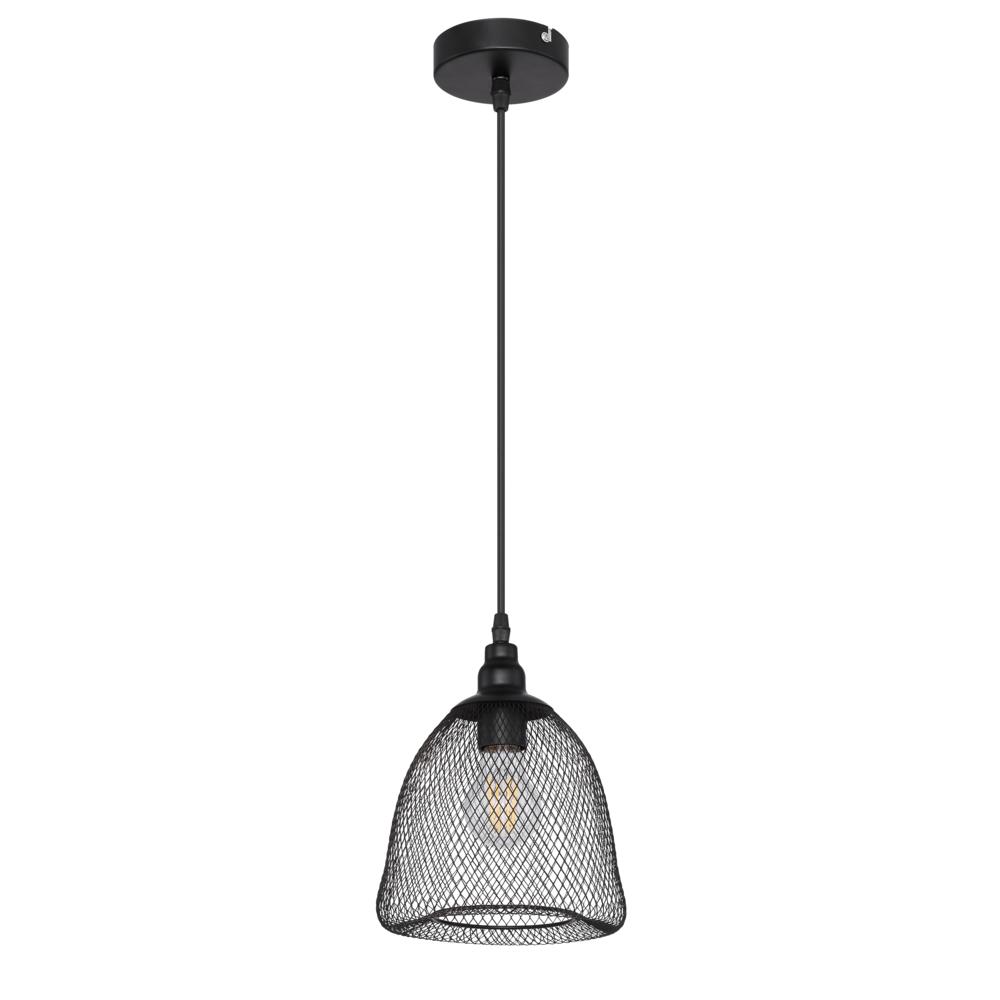 LED moderne hanglamp metaal mesh - zwart - open kap - vooraanzicht lamp uit