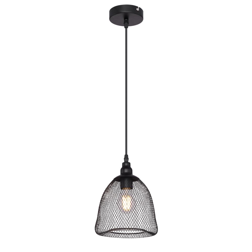 LED moderne hanglamp metaal mesh - zwart - open kap - vooraanzicht lamp aan
