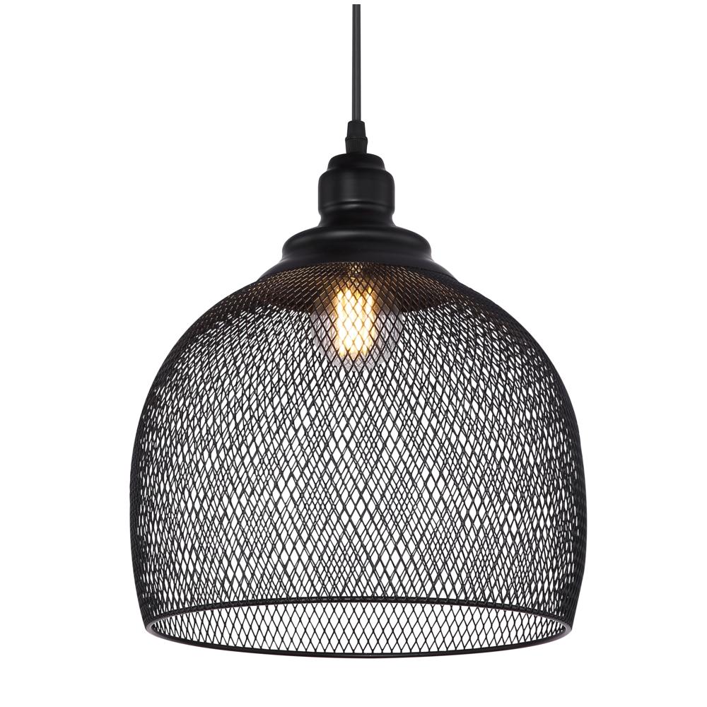 Hanglamp LED modern mesh metaal zwart E27 fitting - lampenkap