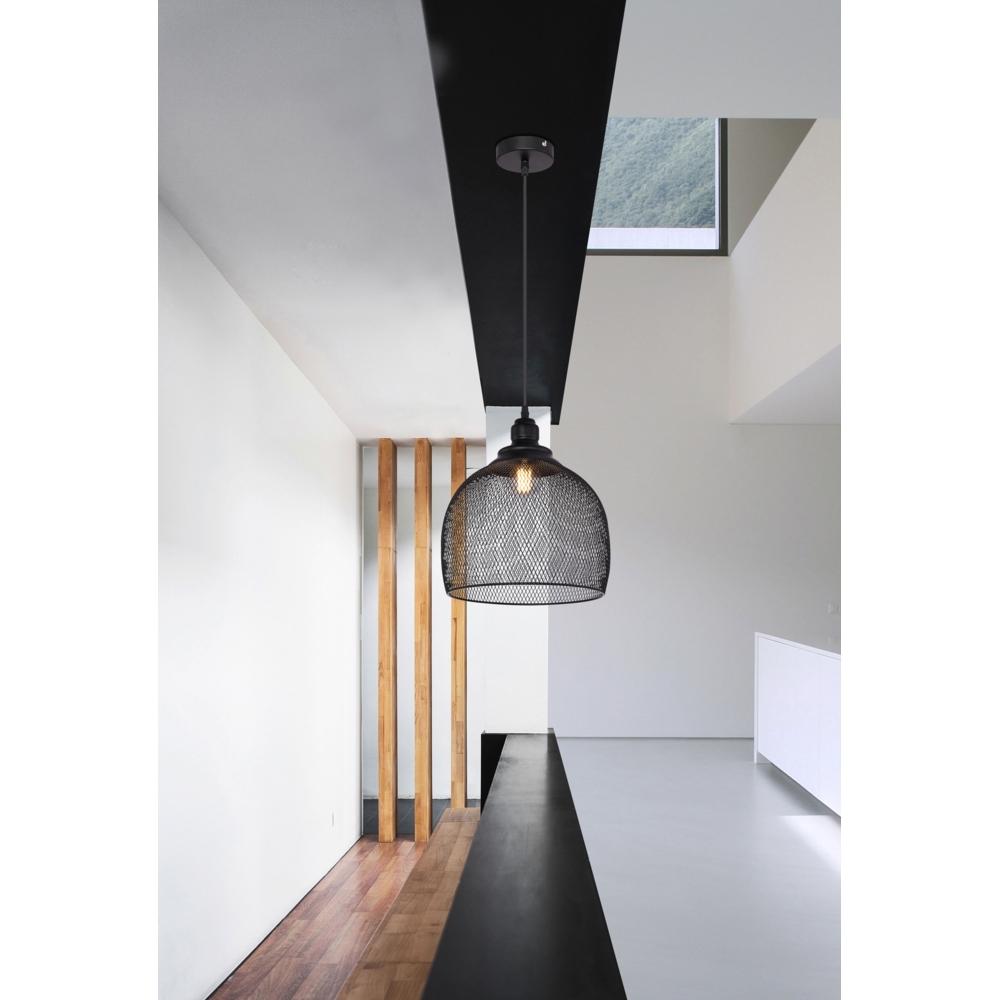 Hanglamp LED modern mesh metaal zwart E27 fitting - sfeerfoto