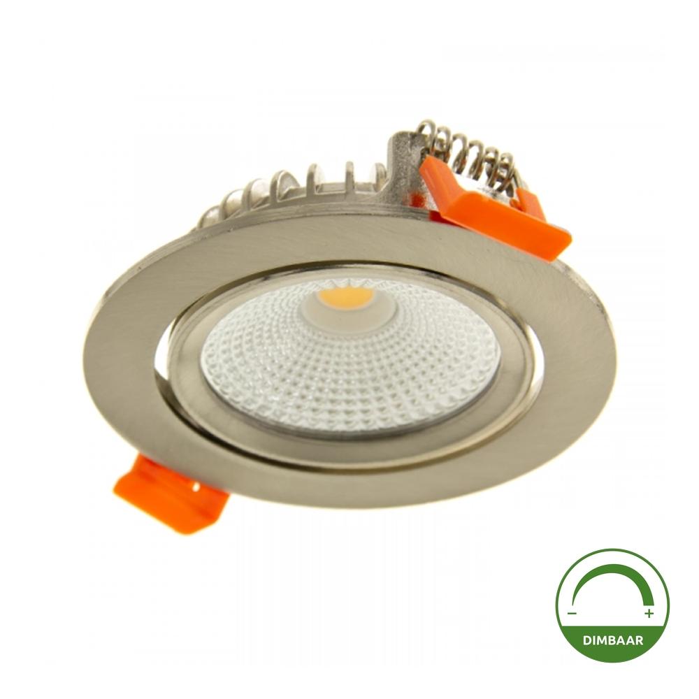 LED Inbouw spot RVS - Dimbaar - kantelbaar - lage inbouw - 75mm - warm wit - 2200K - 2700K - 3000K - onderaanzicht