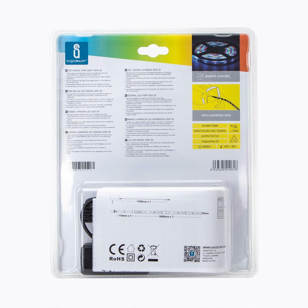 Digitale RGB LED Strip 5 meter inclusief afstandsbediening en adapter -achterkant verpakking