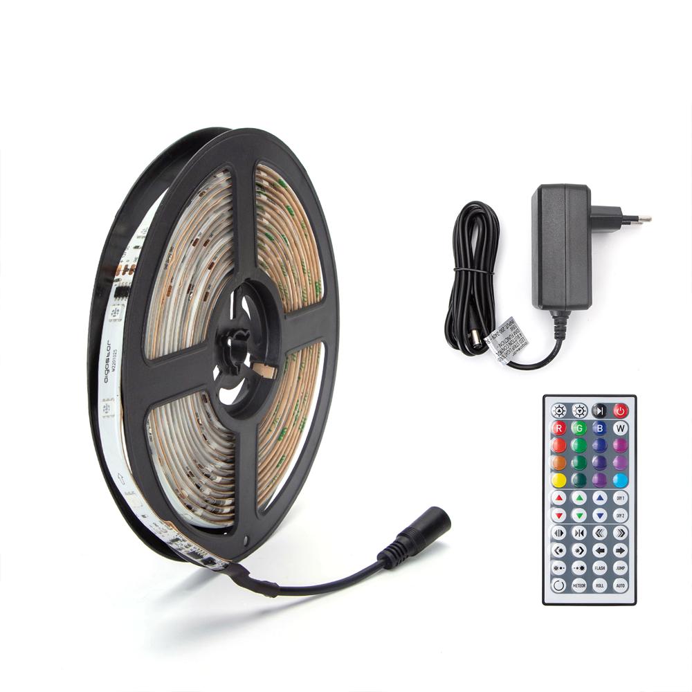 Digitale RGB LED Strip 5 meter inclusief afstandsbediening en adapter - onderdelen