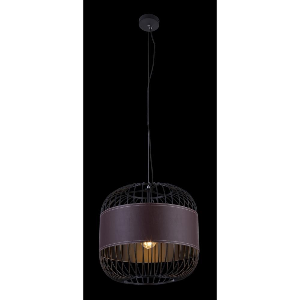 Hanglamp modern leer E27 fitting hanglamp - grijze achtergrond