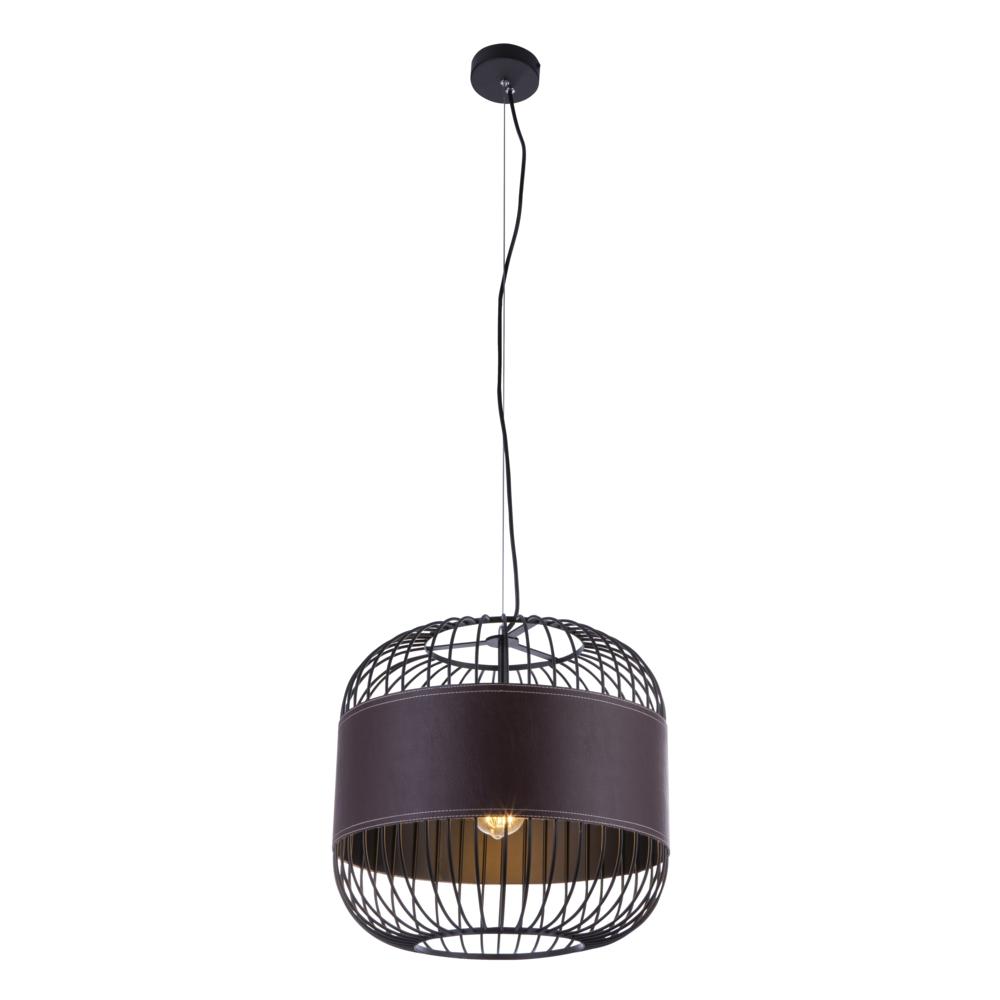 Hanglamp modern leer E27 fitting hanglamp - vooraanzicht lamp aan
