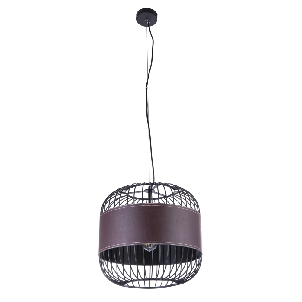 Hanglamp modern leer E27 fitting hanglamp - vooraanzicht lamp uit
