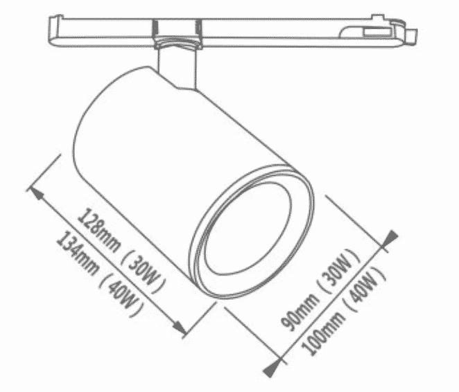 Dimbare 3-fase railspot 40 watt - dimbaar - kantelbaar - warm wit + naturel wit - reflector - afmetingen