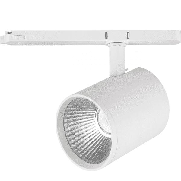 Dimbare 3-fase railspot 40 watt - dimbaar - kantelbaar - warm wit + naturel wit - reflector