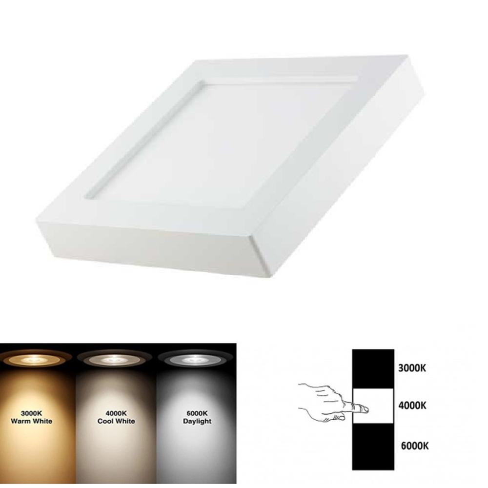 Vierkant opbouw downlight 3 lichtkleuren 18 Watt - lichtkleuren