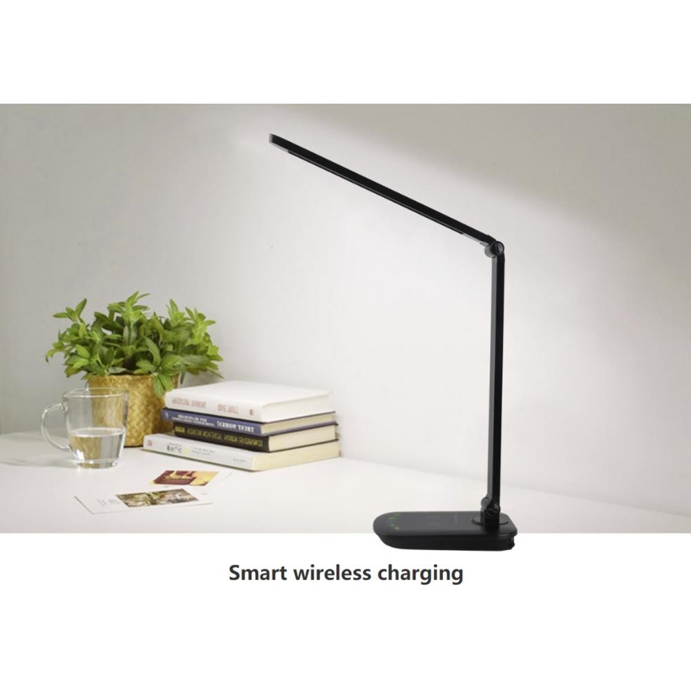 Draadloos mobiel opladen LED bureaulamp 8W zwart