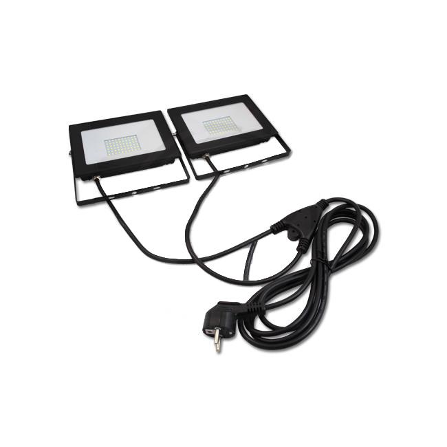 2x 50W LED bouwlamp met 3 meter voedingskabels
