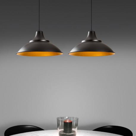 Industriële hanglamp dubbel zwart met goud sfeerfoto