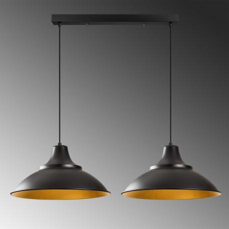 Industriële hanglamp dubbel zwart met goud E27