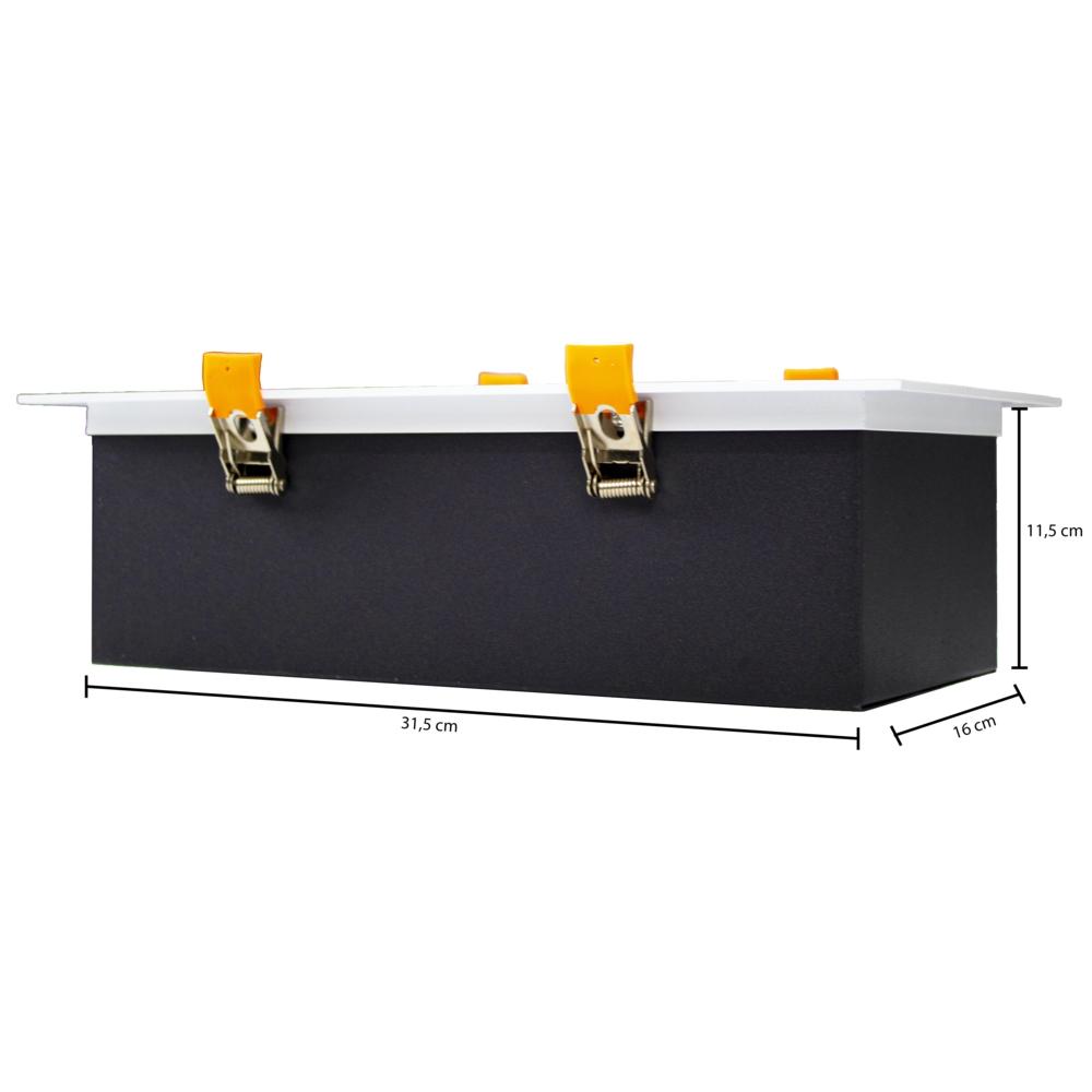 LED Inbouw armatuur voor AR111 spots - dimbaar - kantelbaar - rechthoek - WIT met ZWART - afmetingen