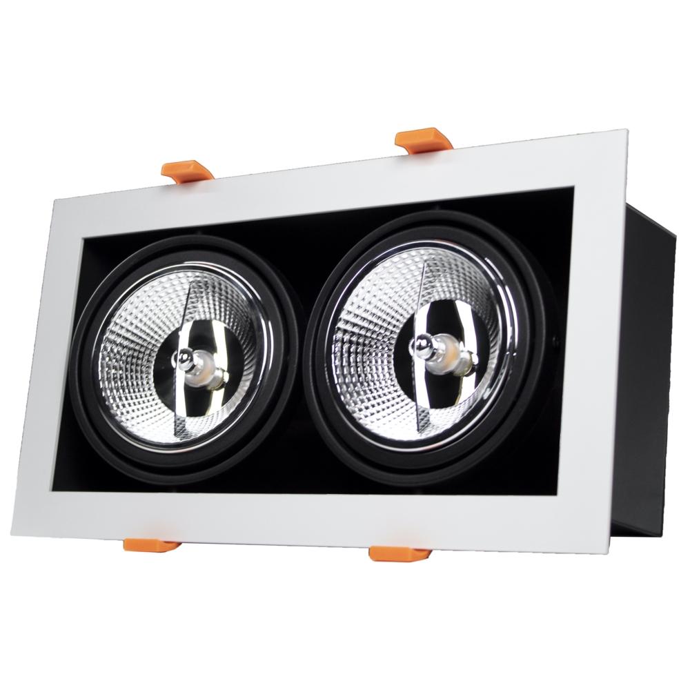 LED Inbouw armatuur voor AR111 spots - dimbaar - kantelbaar - rechthoek - WIT met ZWART