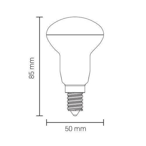 E14 R50 Led Lamp 6 Watt 2700K - warm wit - afmetingen
