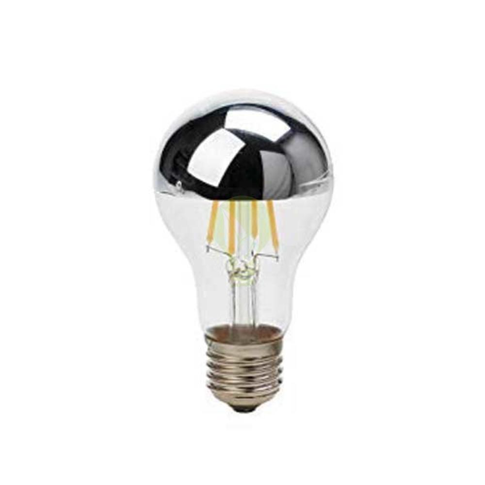 LED Lamp kopspiegel half zilver kleurig 7 Watt grote fitting E27 A60 2700K warm wit