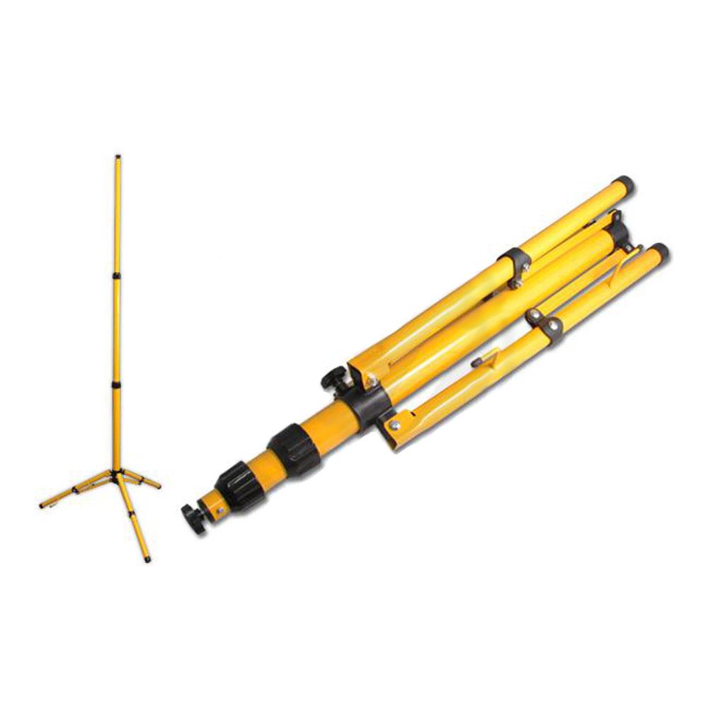 Enkele bouwlamp op statief - geel en zwart - 1.80 meter - vooraanzicht