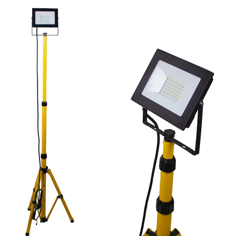 Enkele LED bouwlamp op statief 1.80 meter - 1x 50 watt - 3 meter aansluitsnoer - 5500K Daglicht