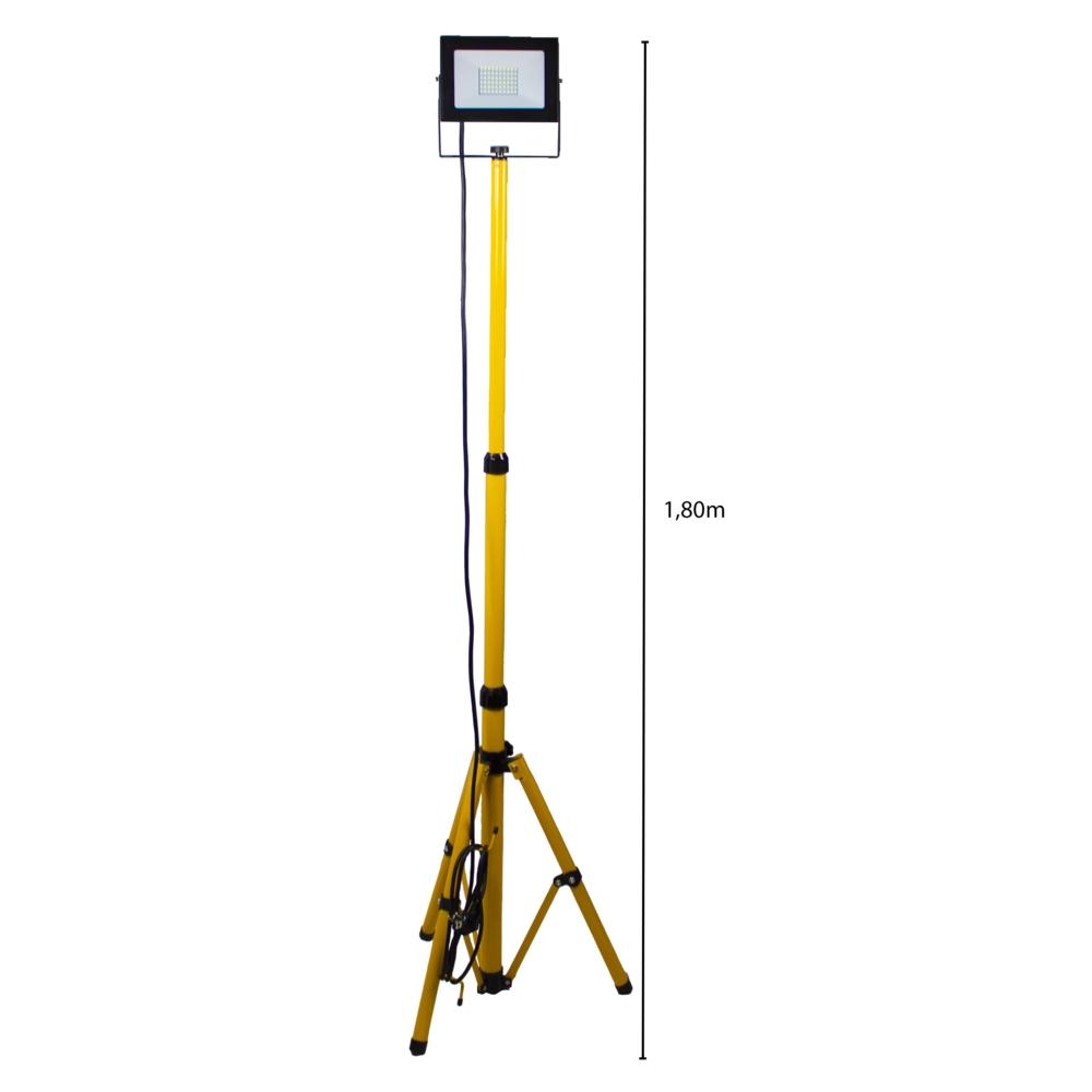 Enkele LED bouwlamp op statief 1.80 meter - 1x 50 watt - 3 meter aansluitsnoer - 5500K Daglicht - afmeting