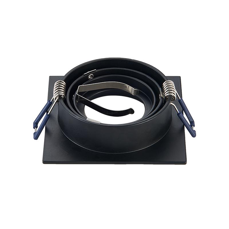 inbouw spot armatuur - Vierkant - Zwart - kantelbaar- zaagmaat 80 mm - achterkant