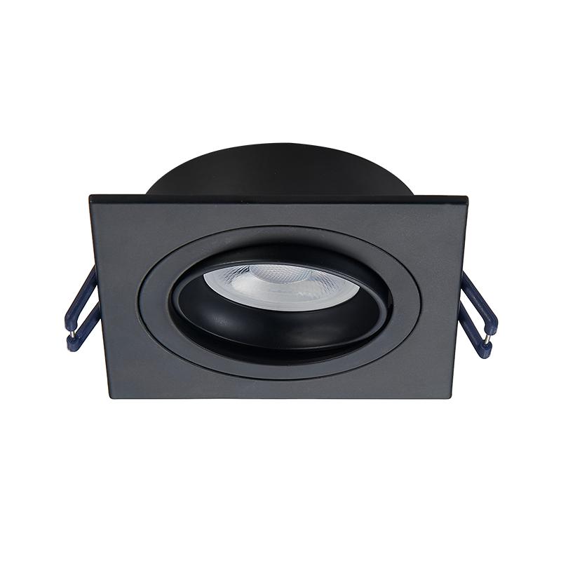 Inbouw spot armatuur - Zwart- Vierkant - Kantelbaar - zaagmaat 80 mm - Voorzijde
