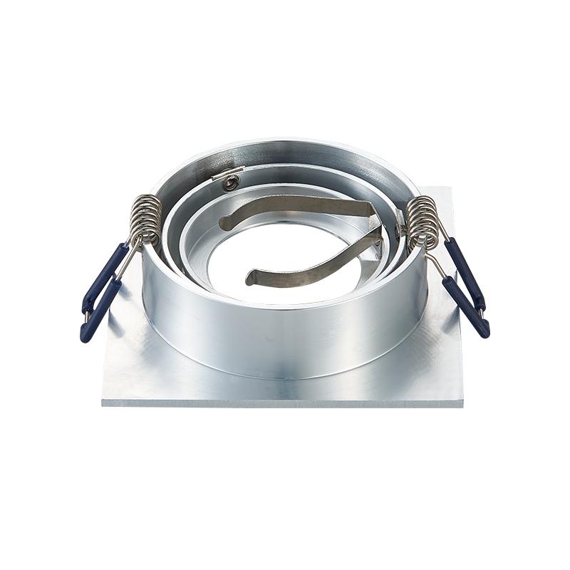 Inbouw spot armatuur - Zilver - Vierkant - kantelbaar - achterzijde - zaagmaat 80 mm