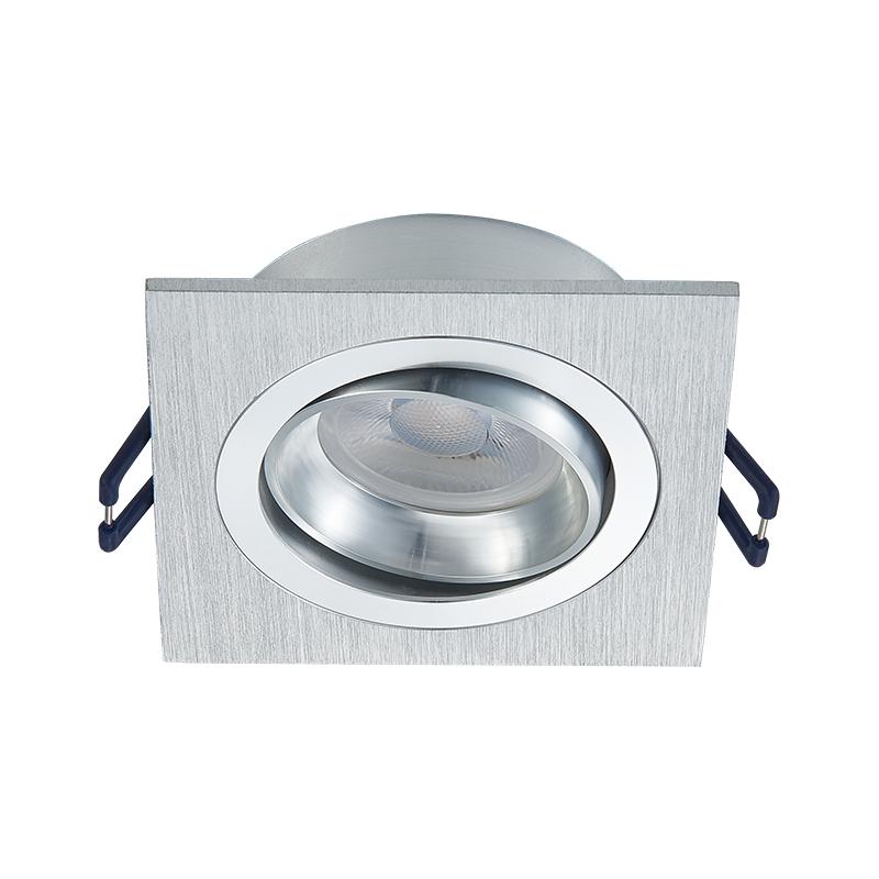 inbouw spot armatuur - vierkant - zilver - kantelbaar - zaagmaat 80 mm