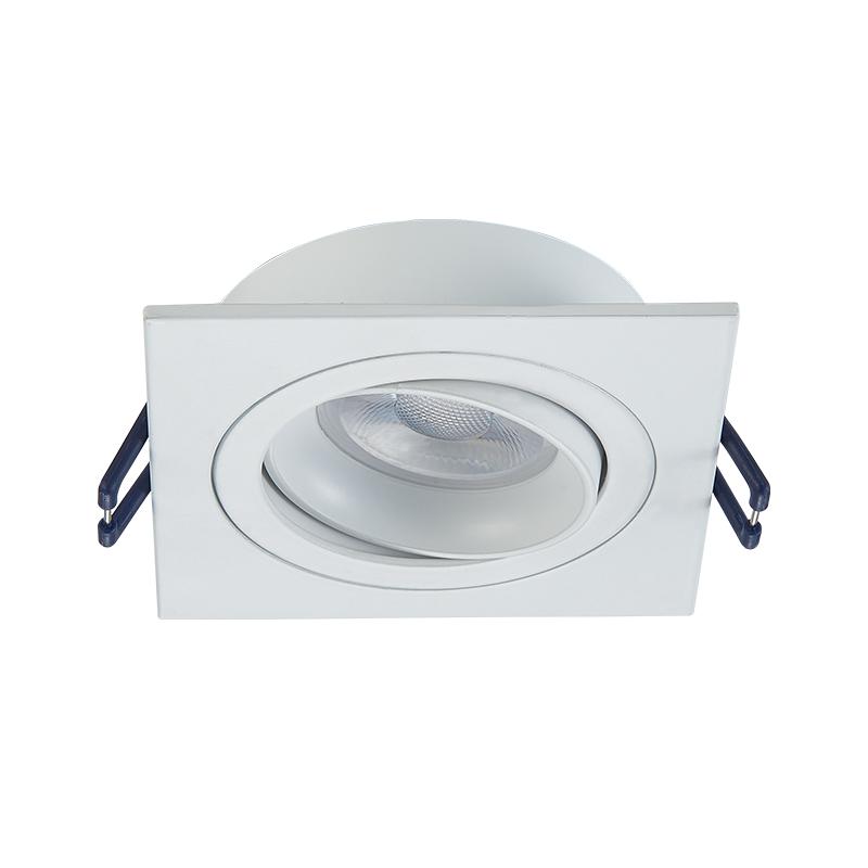 Inbouw spot armatuur - Vierkant - Wit - zaagmaat 80 mm- voorkant- kantelbaar