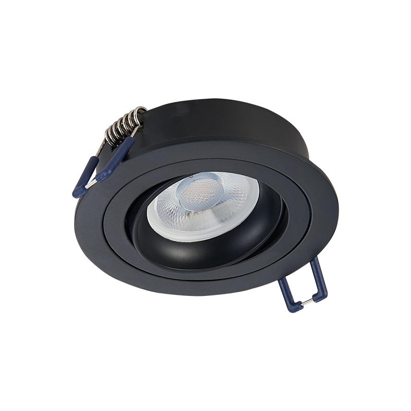 Inbouw Spot armatuur - Kantelbaar - Zwart - zaagmaat 80 mm - rond - voorzijde