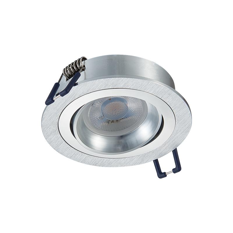 inbouw spot armatuur - Zilver - Zaagmaat 80 mm - kantelbaar - vooraanzicht - rond