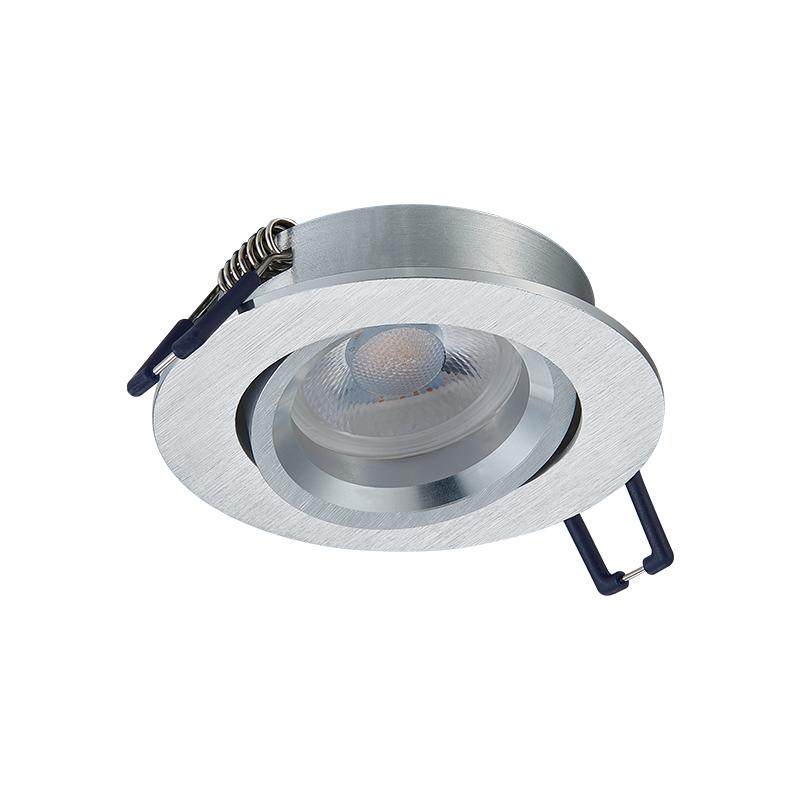 inbouwspot armatuur - Zilver - rond - voorzijde - kantelbaar - zaagmaat 70 mm