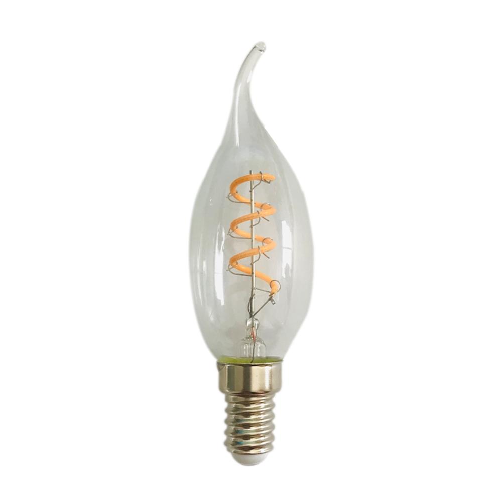 Filament kaarslamp helder glas - E14 fitting - dimbaar - 4 watt- 2200K extra warm