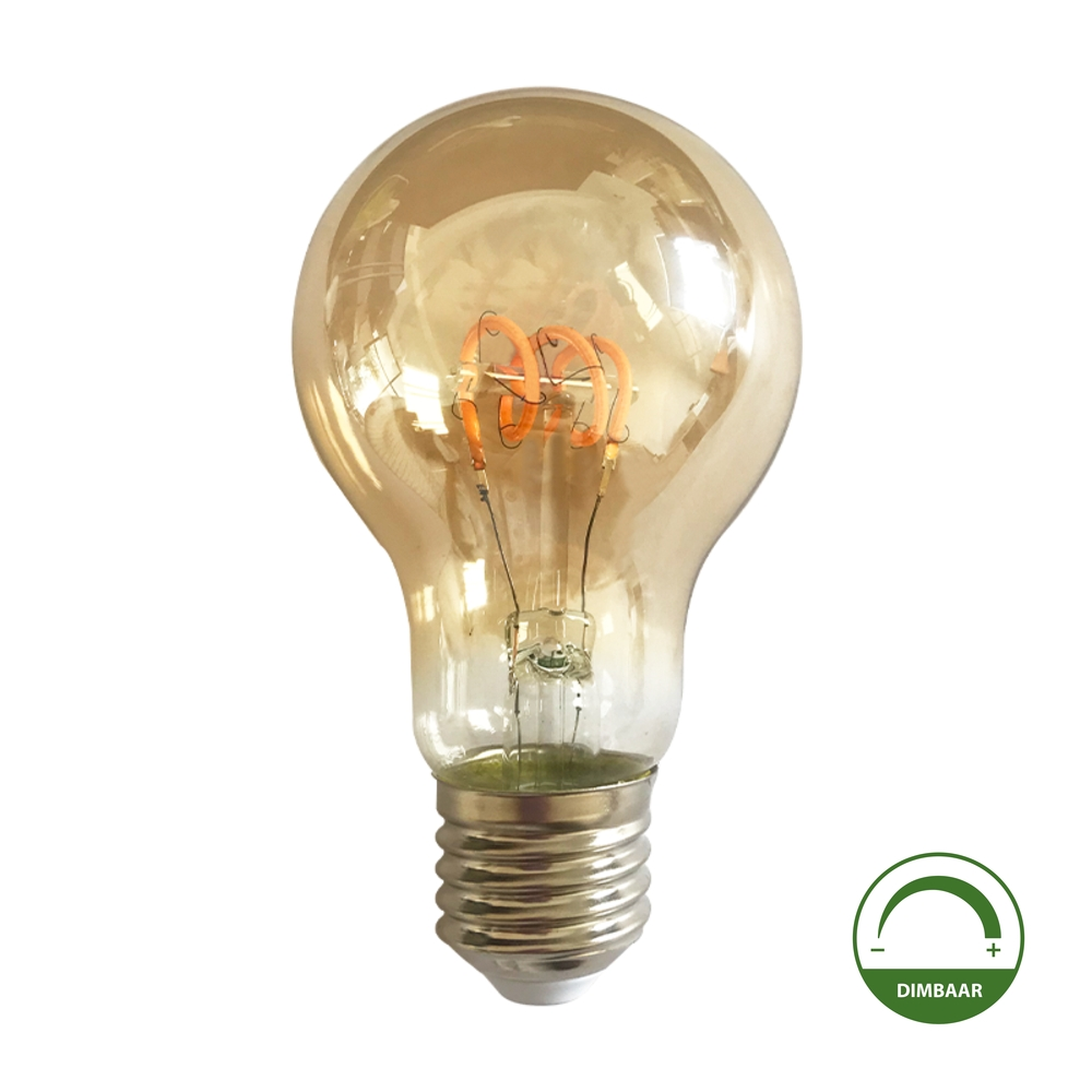 LED Spiraal lamp - amber - goud glas - dimbaar - 4 watt - 2200K warm wit