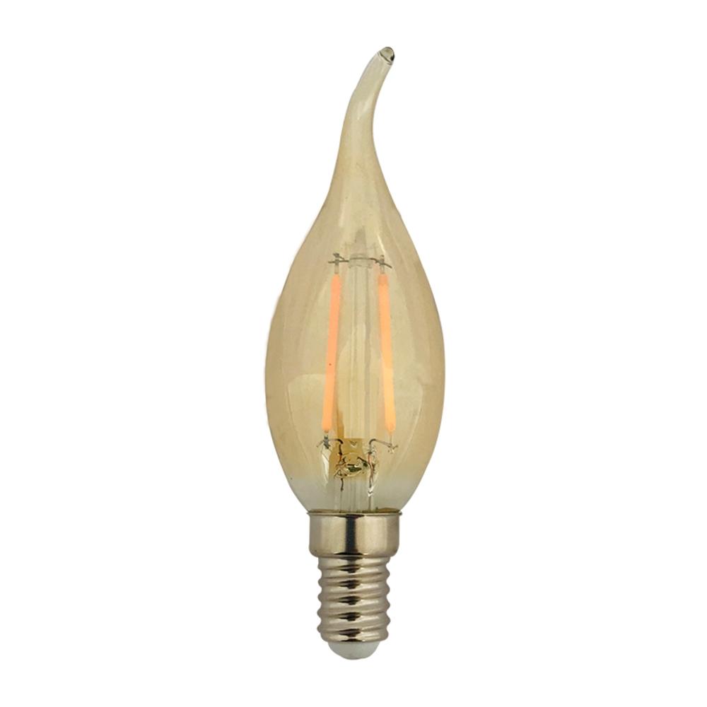 Amber kaarslamp filament - E14 kleine fitting - met tip - dimbaar - 1,8 watt - Philips