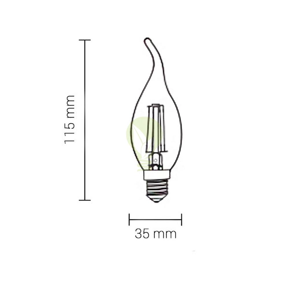 Filament kaarslamp met tip e14 kleine fitting C35T 2700K Warm wit - afmetingen