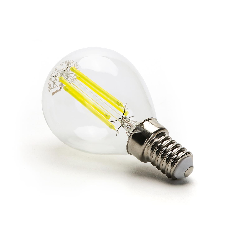 Filament LED Lamp 4 Watt kleine fitting E14 G45 4500K Naturel wit - zijkant lamp
